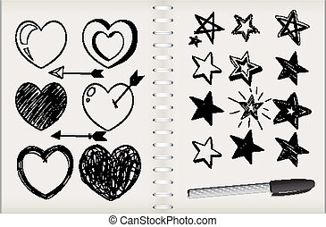 isolato, molti, quaderno, stella, sfondo bianco, forme cuore