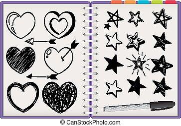isolato, molti, quaderno, stella, viola, sfondo bianco, forme cuore