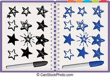 isolato, molti, stelle, quaderno, viola, sfondo bianco