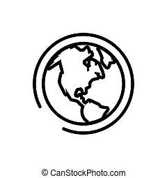 isolato, mondo, terra, icona, pianeta