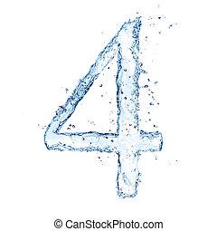 """isolato, numero, acqua, schizzi, fondo, """"4"""", bianco"""