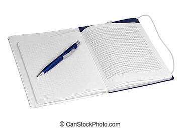 isolato, penna, quaderno, organizzatore, aperto, bianco