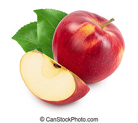 isolato, percorso, fetta, mela rossa, bianco, campo, ritaglio, profondità, pieno, fondo