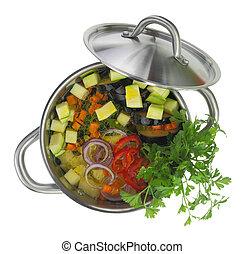 isolato, pot minestra, verdura, fresco, bianco