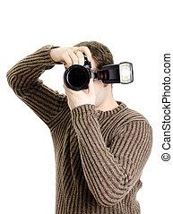 isolato, presa a terra, photojournalist, flash., macchina fotografica, white.