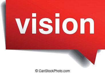 isolato, realistico, carta, discorso, bianco rosso, bolla, visione, 3d