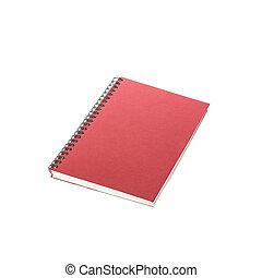 isolato, rosso, quaderno, nuovo, bianco