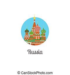 isolato, rotondo, punto di riferimento, cattedrale, russia, icona