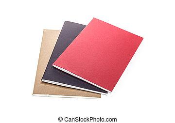 isolato, su, quaderno, chiudere, bianco, pila
