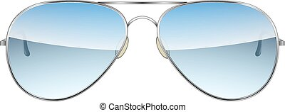 isolato, vettore, fondo, bianco, aviatore, occhiali