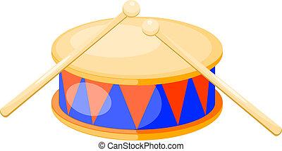 isolato, vettore, fondo., tamburo, illustration., bianco