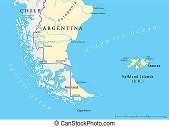isole, falkland, politico, mappa