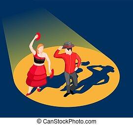 isometrico, ballo, illustrazione, persone