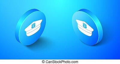 isometrico, button., blu, segno., cappello, vettore, fondo., berretto, coccarda, isolato, icona, polizia, cerchio