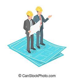 isometrico, concetto, duro, vettore, piano, architettonico, uomo affari, 3d, cappello, o, ingegnere