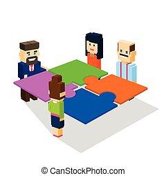 isometrico, concetto, gruppo, persone affari, fare, soluzione, risolvere, lavoro squadra, puzzle, 3d