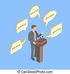 isometrico, concetto, politico, dare, vettore, promises., vuoto, 3d