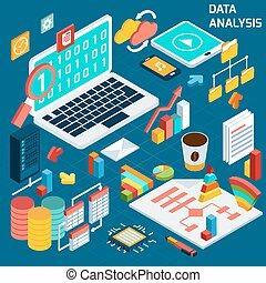 isometrico, dati, analisi