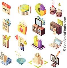 isometrico, elementi, dati, set, analisi