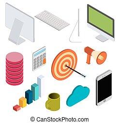 isometrico, elementi, set, affari, v