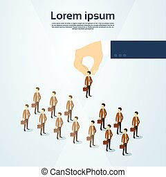 isometrico, gruppo, affari, candidato, persone, reclutamento, spazio, mano, persona, scegliere, copia, 3d