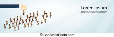 isometrico, gruppo, affari, candidato, persone, reclutamento, spazio, mano, persona, scegliere, copia, bandiera, 3d