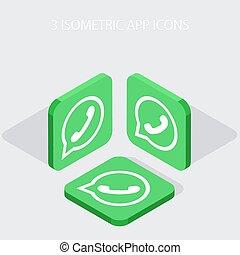 isometrico, icone, app, moderno, telefono, 3, vettore