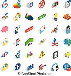 isometrico, icone, set, esecutivo, stile, ufficiale