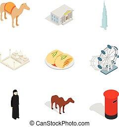 isometrico, icone, set, stile, religione, mondo