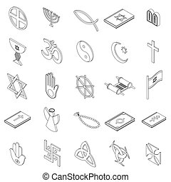 isometrico, icone, set, stile, simboli, religioso, 3d