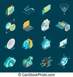 isometrico, icone, telecomunicazione, set