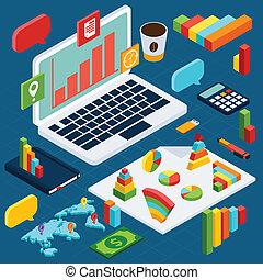 isometrico, infographic, dati, analisi