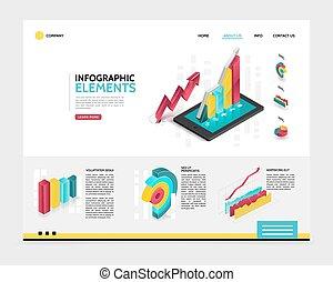 isometrico, infographic, pagina, atterraggio, sagoma