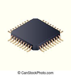 isometrico, isolato, illustrazione, fondo., vettore, bianco, microchip
