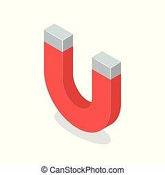 isometrico, isolato, illustrazione, magnete, fondo., vettore, bianco