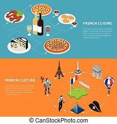 isometrico, manifesto, francia, 2, bandiere, turismo