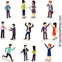 isometrico, persone, vettore, parecchi