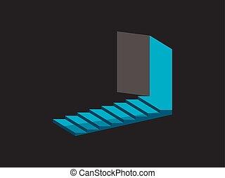 isometrico, porta, scale., luce, illustrazione, vettore, steps., aperto