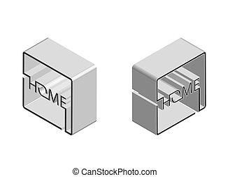 isometrico, quadrato, logotipo, astratto, stile, casa, vettore