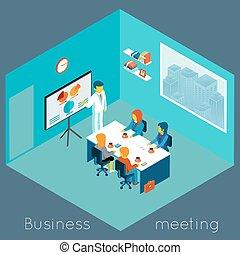 isometrico, riunione, affari, 3d