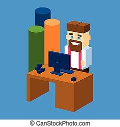 isometrico, sbarra, ufficio affari, grafico, desktop, posto lavoro, uomo, 3d