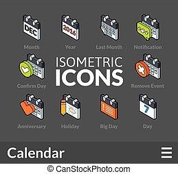 isometrico, set, contorno, 40, icone