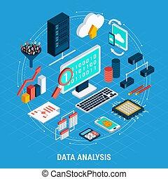 isometrico, set, dati, analisi