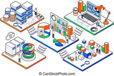 isometrico, set, scienza, grande, analisi, dati