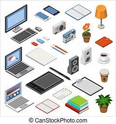 isometrico, set, ufficio, accessori, icons., apparecchiatura
