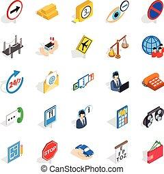 isometrico, sguardo, icone, set, secondo, stile