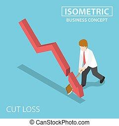 isometrico, taglio, affari, grafico, ascia, cadere