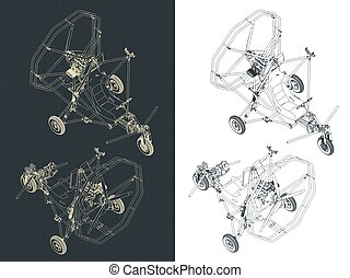 isometrico, trike, ultralight, cianografie, aereo