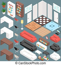 isometrico, ufficio, creazione, kit, vettore, planning., 3d
