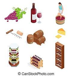 isometrico, vettore, icone, collection., isolato, illustrazione, produzione, fondo, vino bianco